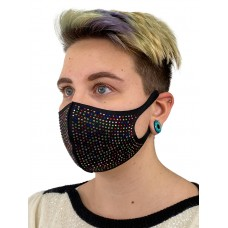 На фото 1 - Чёрная женская защитная маска в стразах