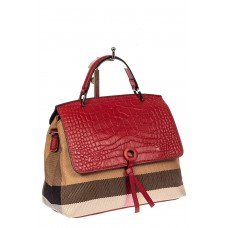 На фото 1 - Женская сумка из кожи и текстиля, цвет красный
