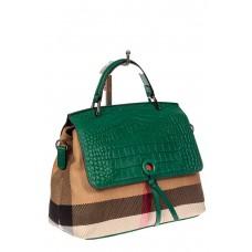 На фото 1 - Женская сумка из кожи и текстиля, цвет зеленый