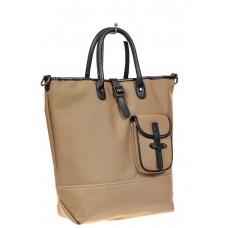 На фото 1 - Текстильная женская сумка тоут, цвет бежевый