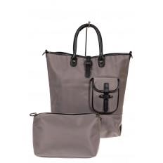 На фото 2 - Текстильная женская сумка тоут, цвет серый