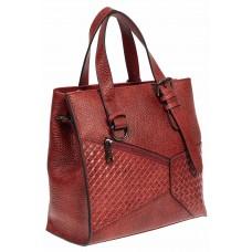 На фото 1 - Кожаный женский тоут с плетёными вставками, цвет красный