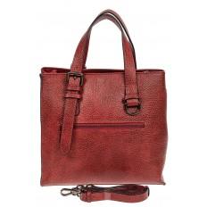 На фото 3 - Кожаный женский тоут с плетёными вставками, цвет красный