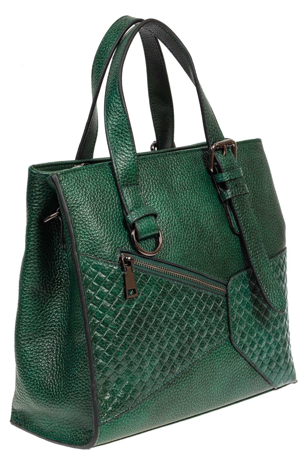 На фото 1 - Кожаный женский тоут с плетёными вставками, цвет зелёный