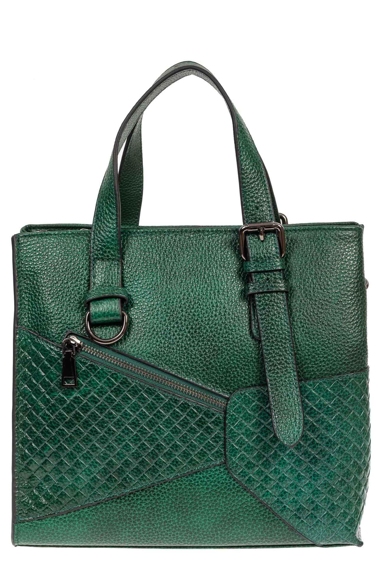 На фото 2 - Кожаный женский тоут с плетёными вставками, цвет зелёный