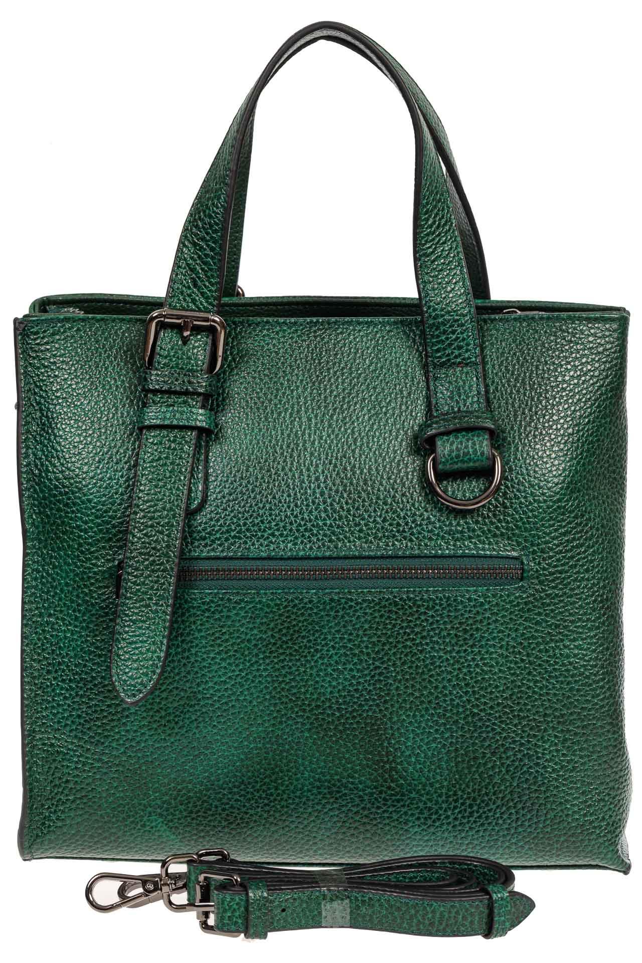 На фото 3 - Кожаный женский тоут с плетёными вставками, цвет зелёный