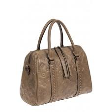 На фото 1 - Кожаная женская сумка с тиснёным принтом, цвет серый