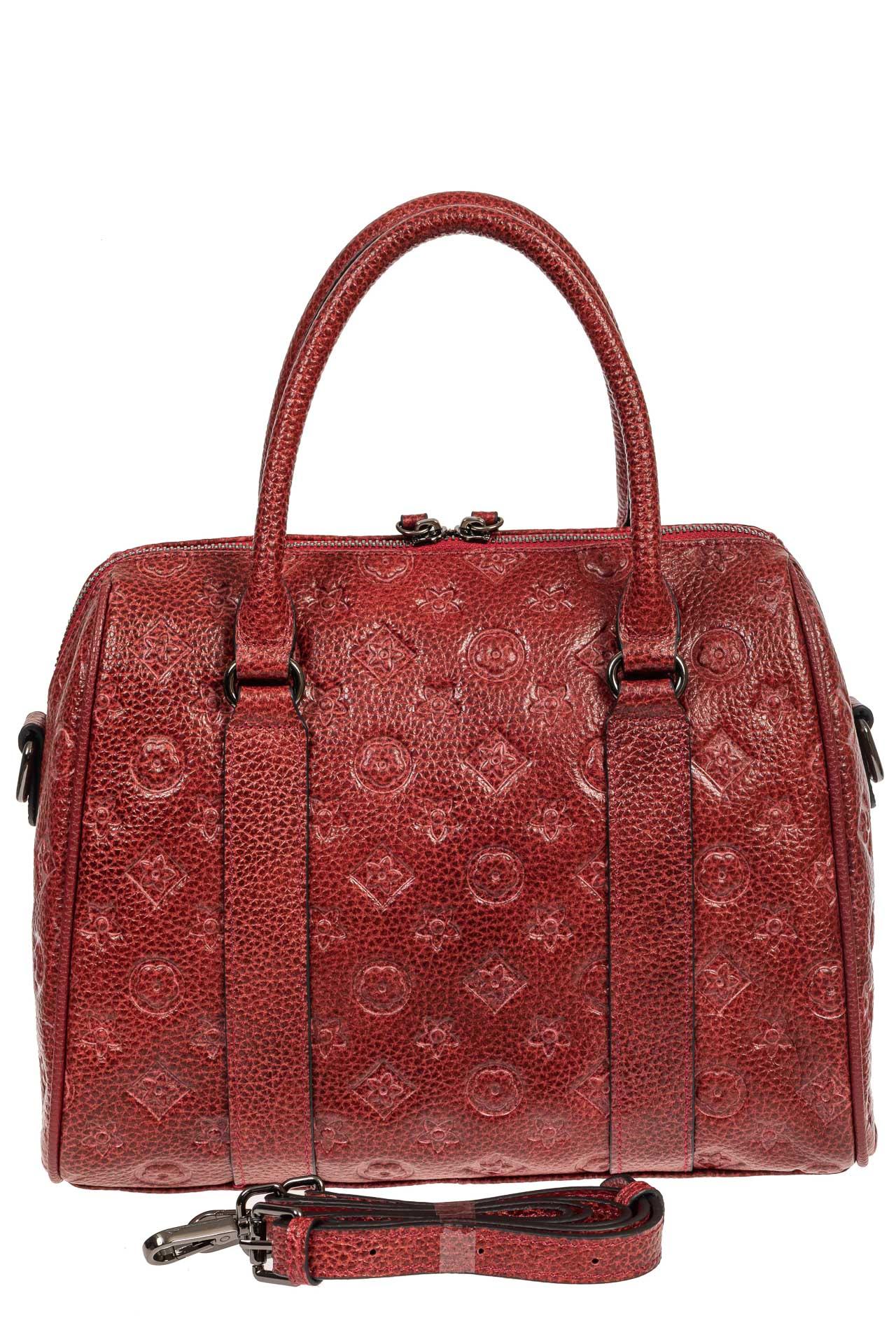 На фото 3 - Кожаная женская сумка с тиснёным принтом, цвет красный