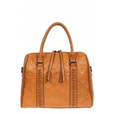 На фото 2 - Кожаная женская сумка с тиснёным принтом, цвет рыжий
