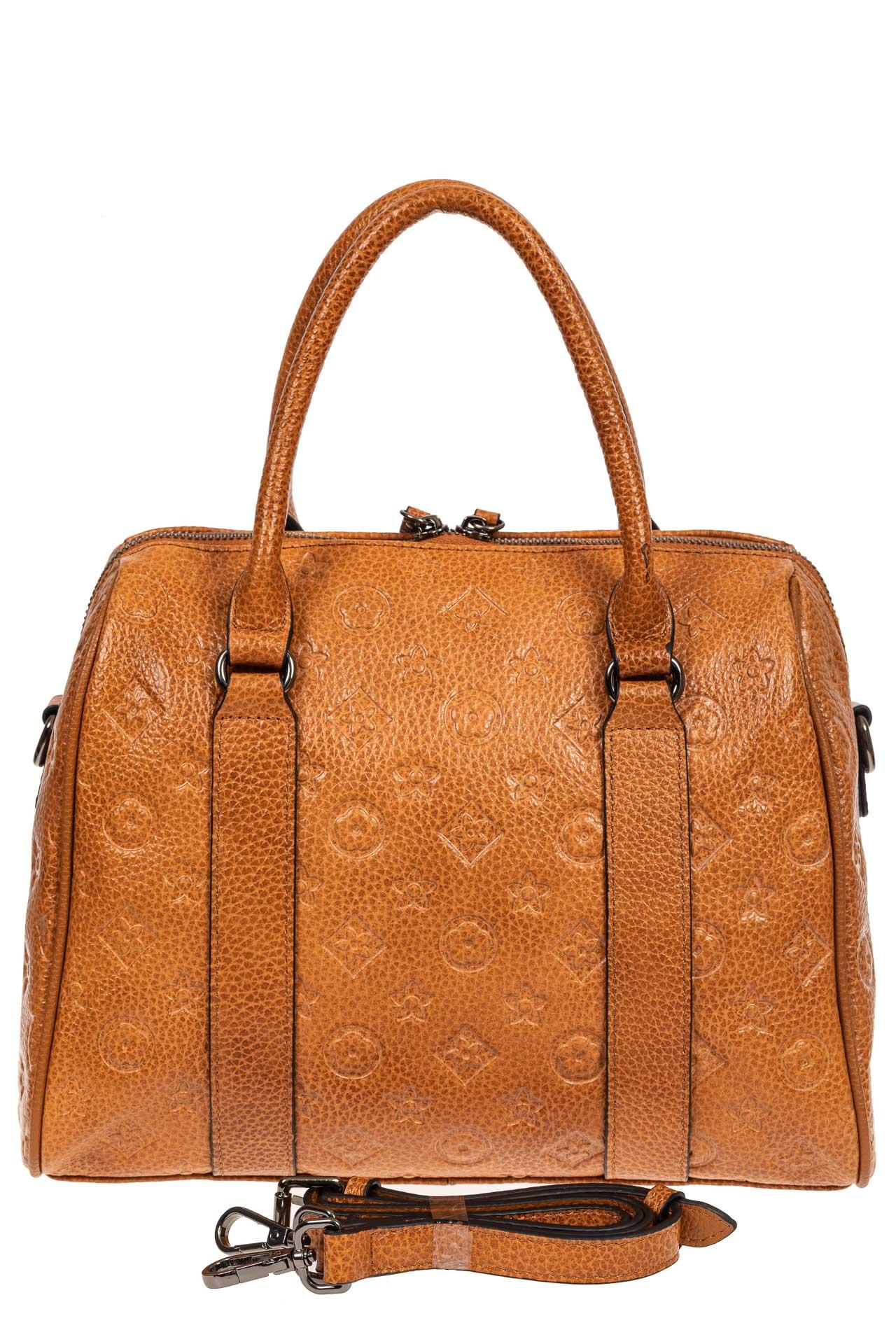 На фото 3 - Кожаная женская сумка с тиснёным принтом, цвет рыжий