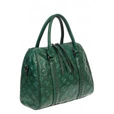На фото 1 - Кожаная женская сумка с тиснёным принтом, цвет зелёный