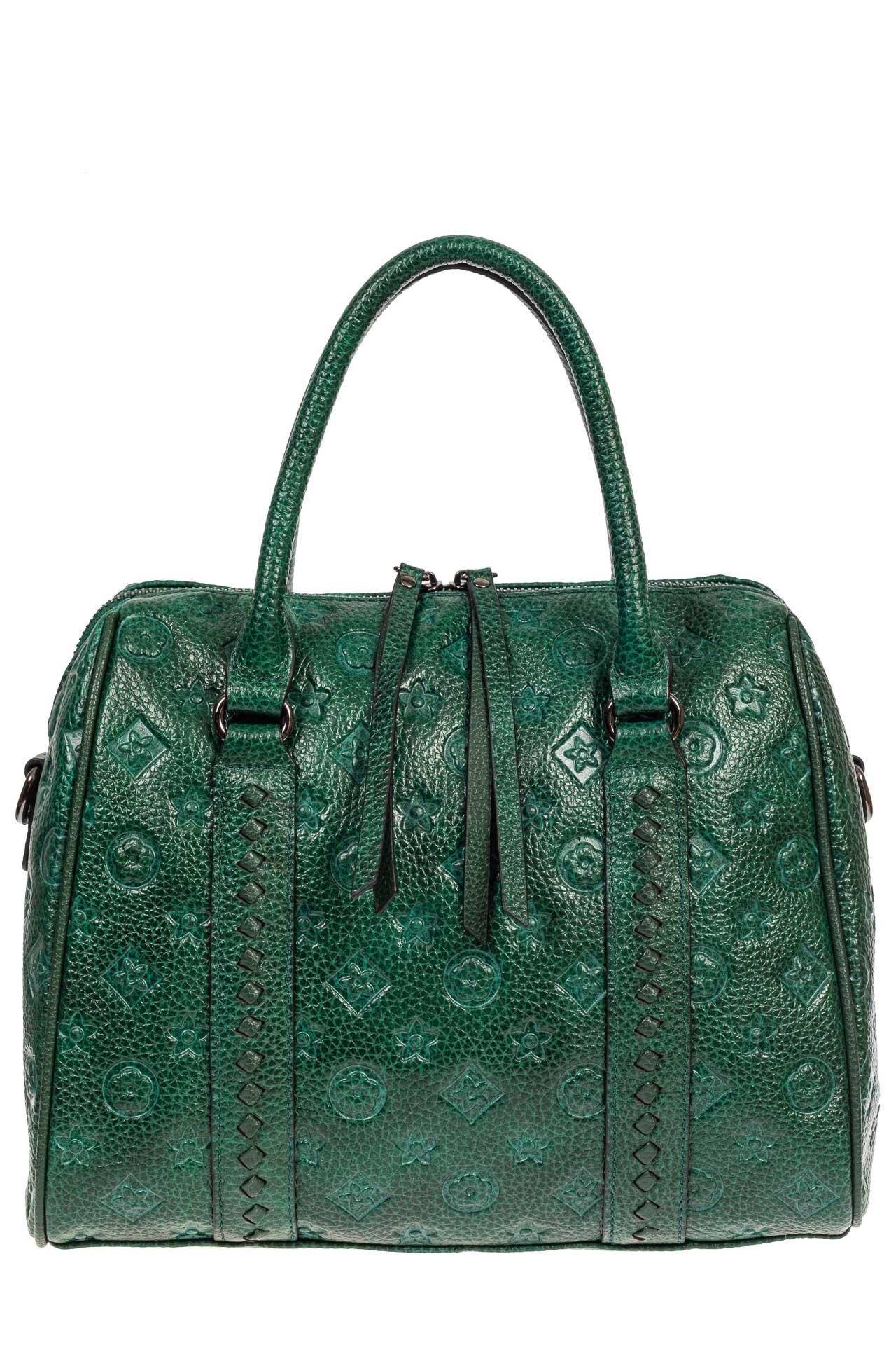 На фото 2 - Кожаная женская сумка с тиснёным принтом, цвет зелёный