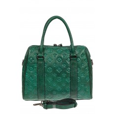 На фото 3 - Кожаная женская сумка с тиснёным принтом, цвет зелёный