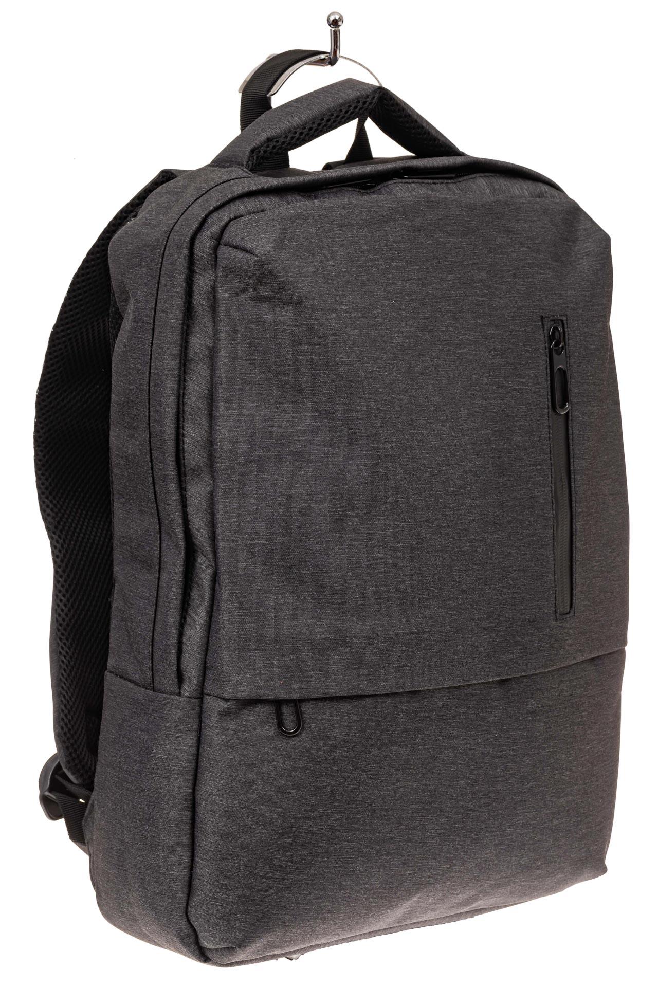На фото 1 - Строгий мужской рюкзак из текстиля, цвет темно-серый