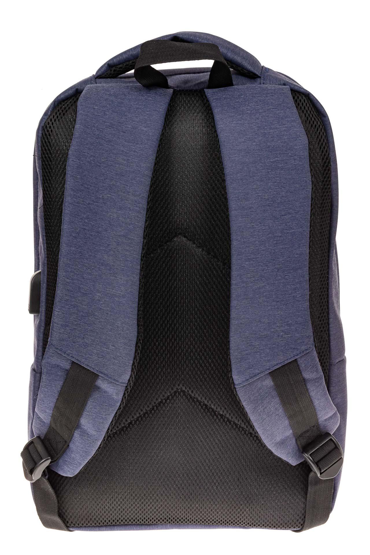 На фото 3 - Строгий мужской рюкзак из текстиля, цвет синий
