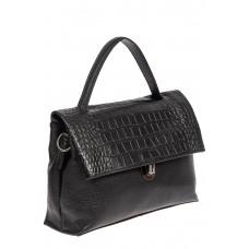 На фото 1 - Кожаная женская сумка с фактурой крокодила, цвет чёрный