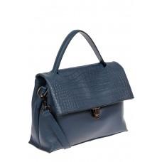 На фото 1 - Кожаная женская сумка с фактурой крокодила, цвет синий