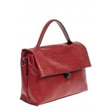 На фото 1 - Кожаная женская сумка с фактурой крокодила, цвет красный