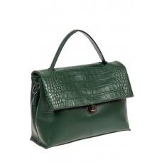 На фото 1 - Кожаная женская сумка с фактурой крокодила, цвет зелёный