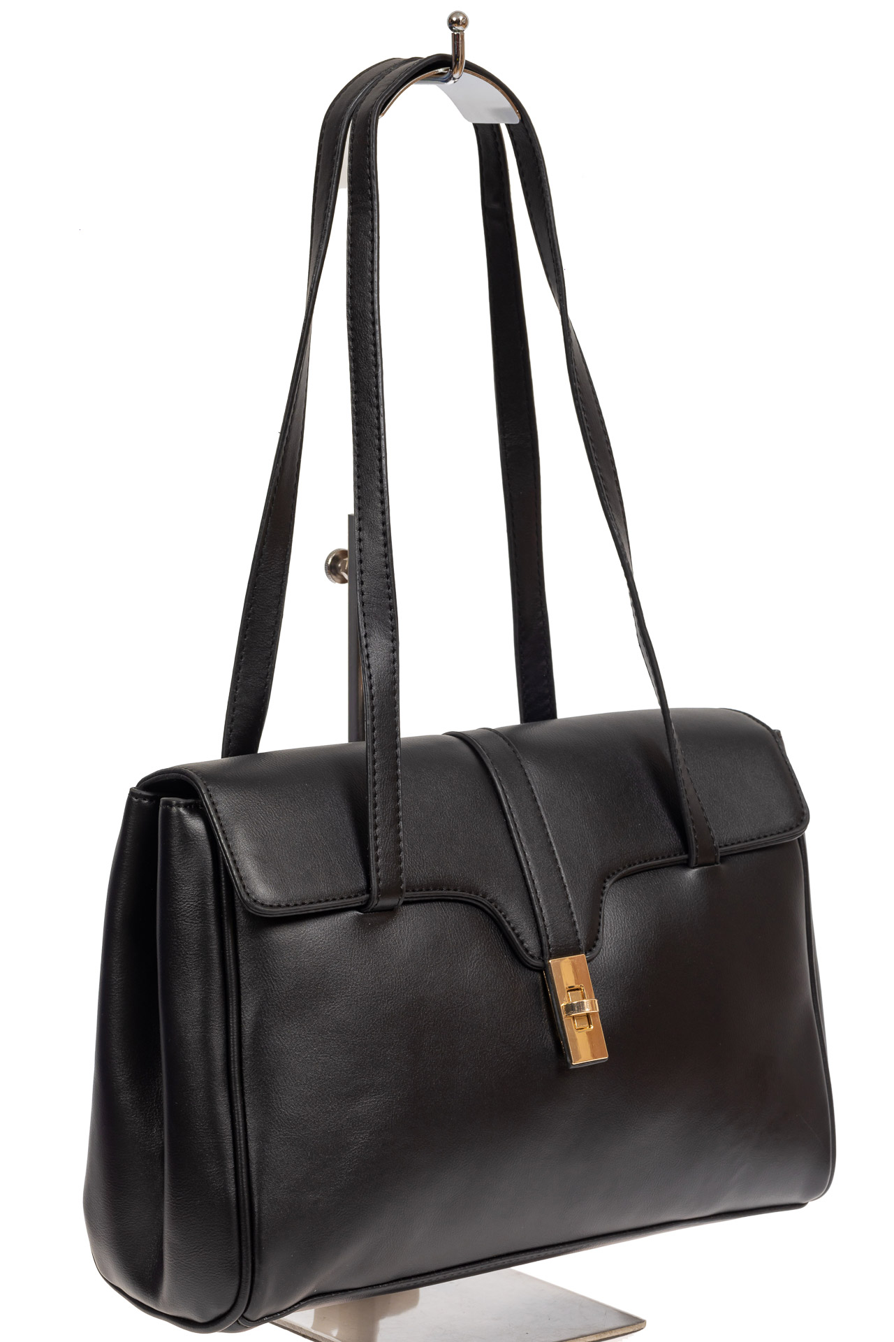 На фото 1 - Женская сумка-сэтчел из искусственной кожи, цвет чёрный