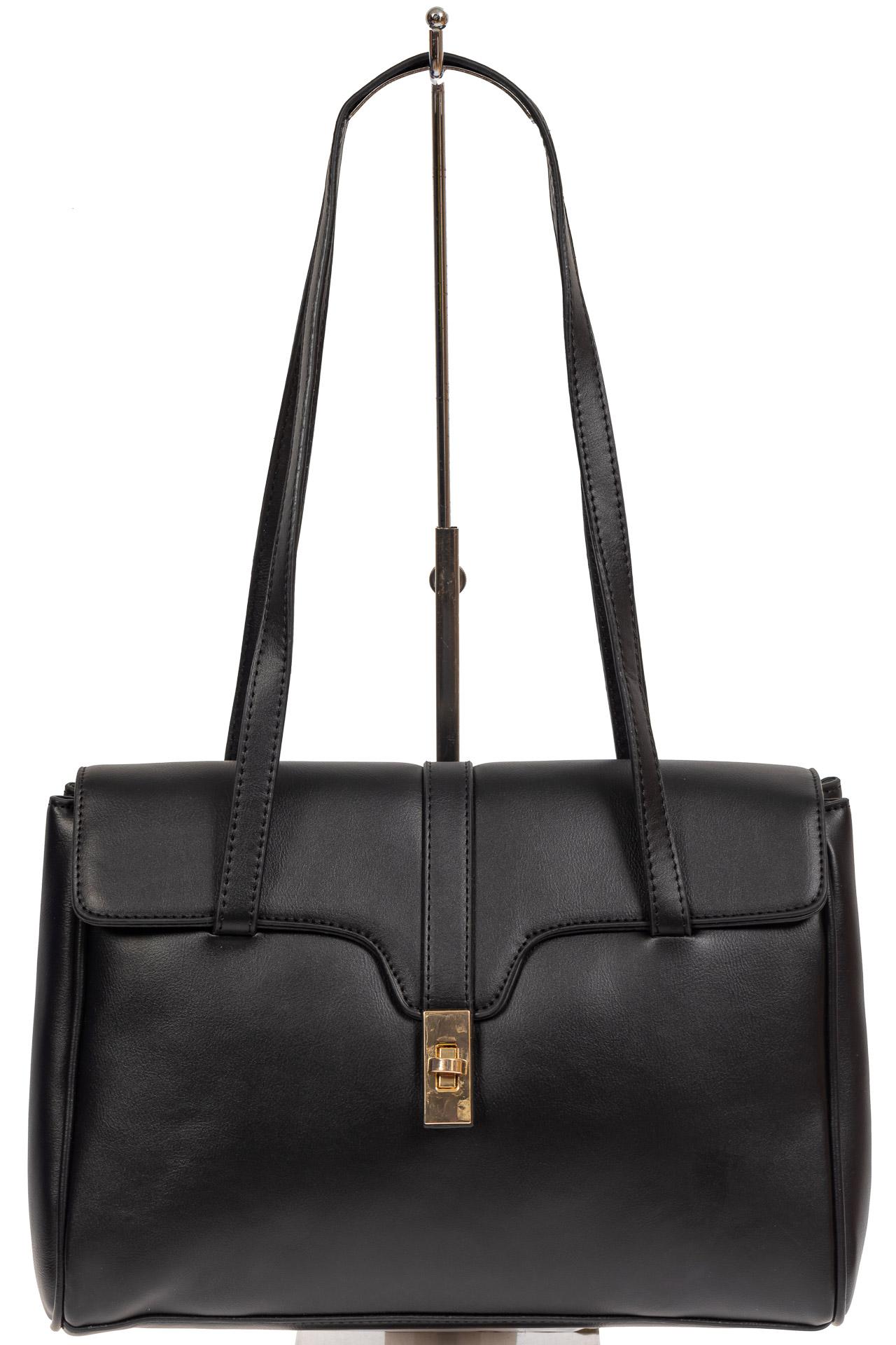 На фото 2 - Женская сумка-сэтчел из искусственной кожи, цвет чёрный