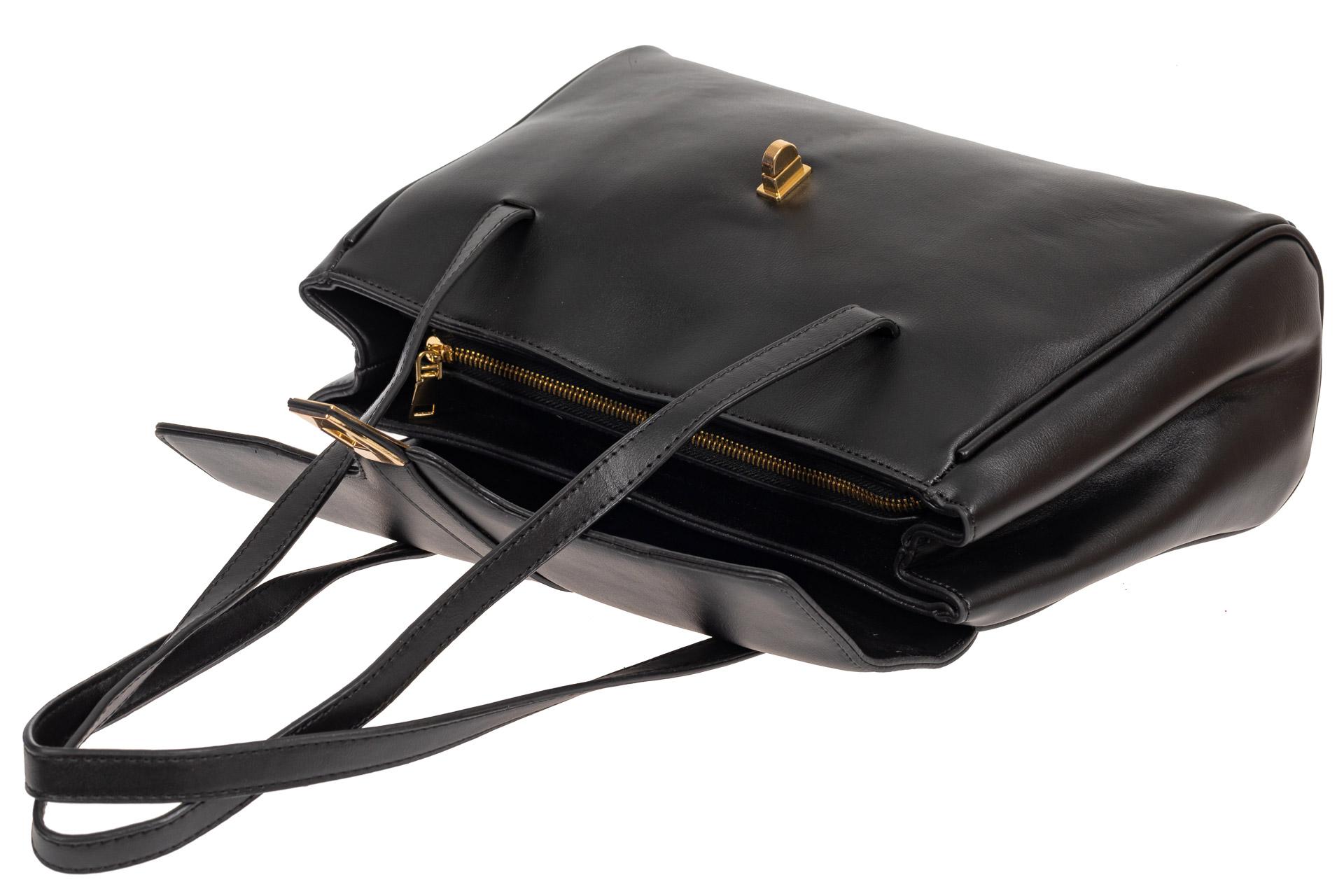 На фото 4 - Женская сумка-сэтчел из искусственной кожи, цвет чёрный