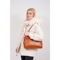 На фото 5 - Женская сумка-сэтчел из искусственной кожи, цвет чёрный