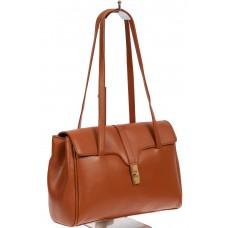 На фото 1 - Женская сумка-сэтчел из искусственной кожи, цвет рыжий