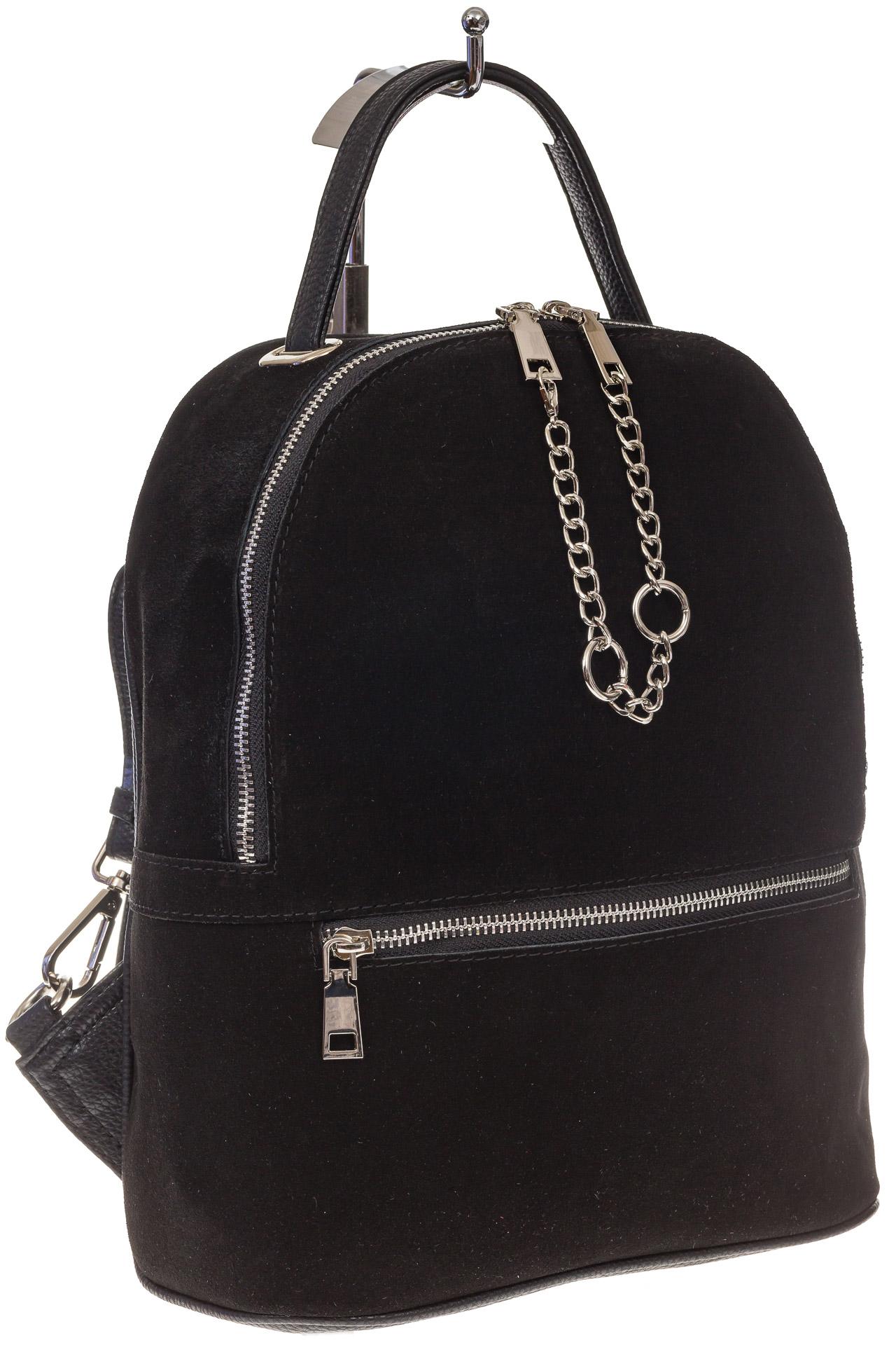 На фото 1 - Женский рюкзак из натуральной замши, цвет черный