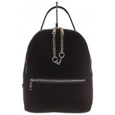 На фото 2 - Женский рюкзак из натуральной замши, цвет черный
