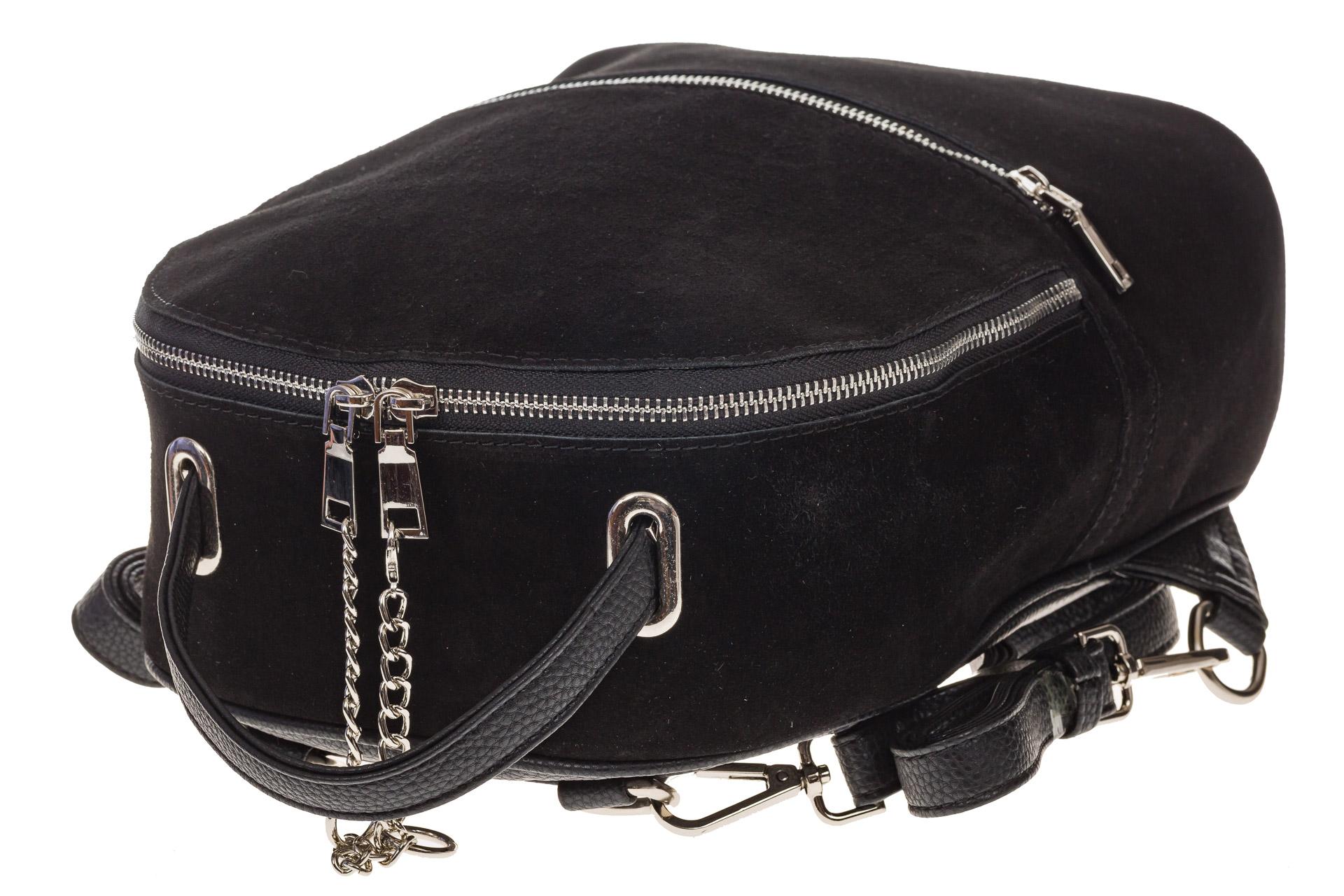 На фото 4 - Женский рюкзак из натуральной замши, цвет черный