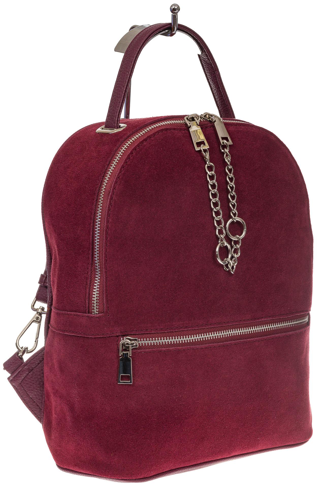 На фото 1 - Женский рюкзак из натуральной замши, цвет бордовый