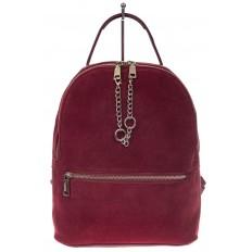 На фото 2 - Женский рюкзак из натуральной замши, цвет бордовый