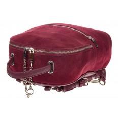 На фото 4 - Женский рюкзак из натуральной замши, цвет бордовый