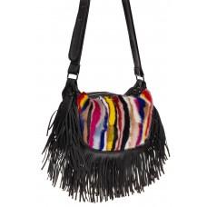 На фото 1 - Меховая сумка хобо с бахромой, вертикальный мультицвет