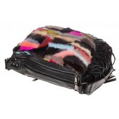 На фото 4 - Меховая сумка хобо с бахромой, горизонтальный мультицвет