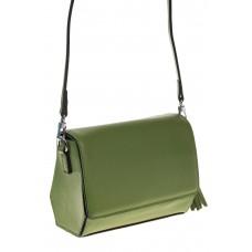 на фото Маленькая сумочка из натуральной кожи зеленого цвета 8002MKна