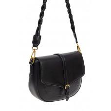 На фото 1 - Женская сумка-седло из искусственной кожи с плетёной ручкой, цвет чёрный