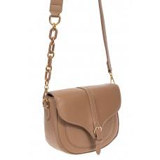 На фото 1 - Женская сумка-седло из искусственной кожи с текстурой крокодиловой кожи, цвет бежевый