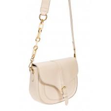 На фото 1 - Женская сумка-седло из искусственной кожи с текстурой крокодиловой кожи, цвет молочный