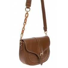 На фото 1 - Женская сумка-седло из искусственной кожи с текстурой крокодиловой кожи, цвет коричневый