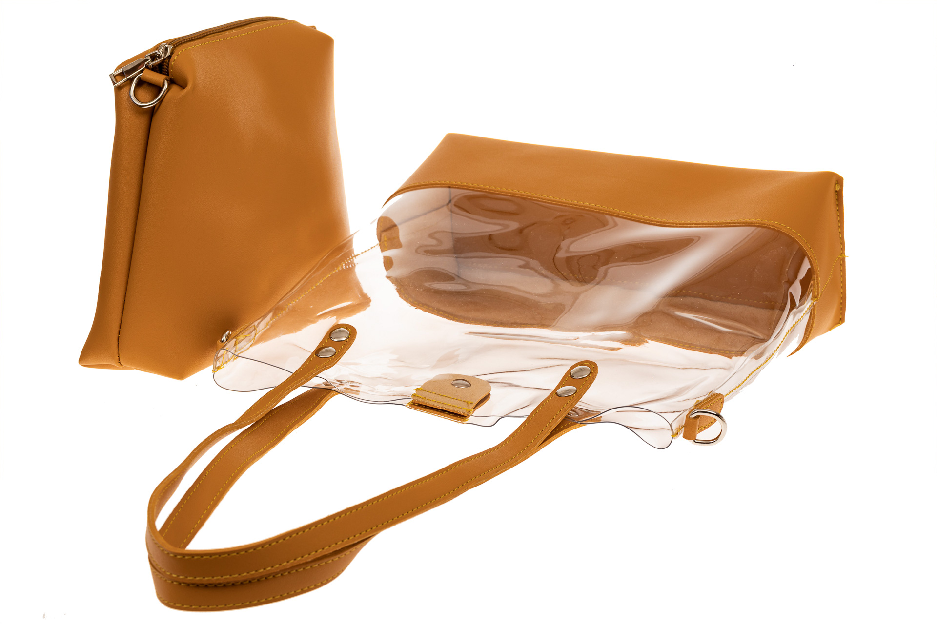 На фото 3 - Прозрачный шоппер из винила и эко-кожи, цвет манго