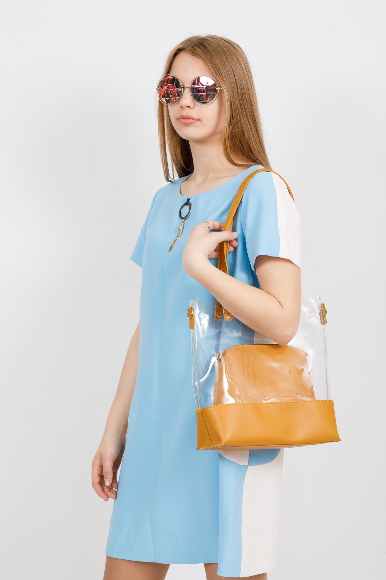 На фото 4 - Прозрачный шоппер из винила и эко-кожи, цвет манго