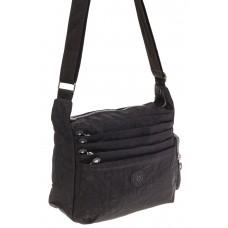 На фото 1 - Черная текстильная сумка с множеством карманов