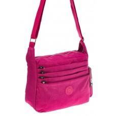 На фото 1 - Малиновая текстильная сумка с множеством карманов