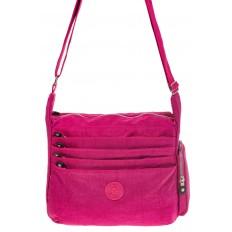 На фото 2 - Малиновая текстильная сумка с множеством карманов