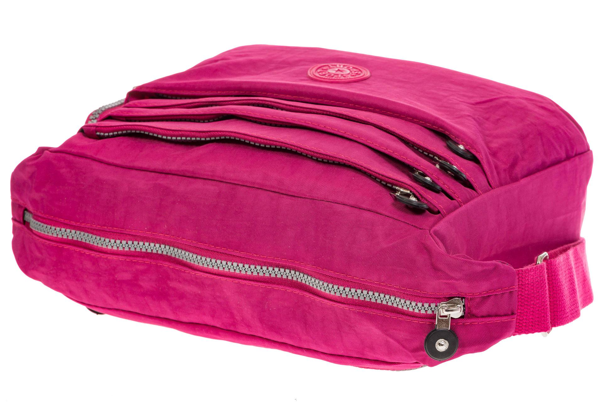 На фото 4 - Малиновая текстильная сумка с множеством карманов