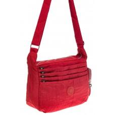 На фото 1 - Красная тканевая сумка с множеством карманов
