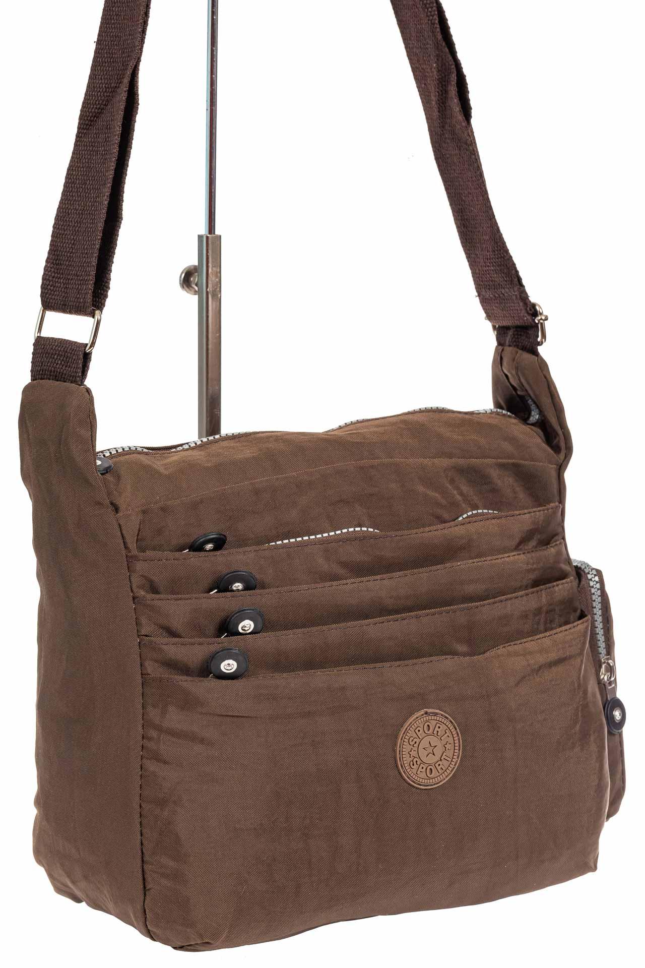На фото 1 - Женская тканевая сумка с множеством карманов, цвет коричневый