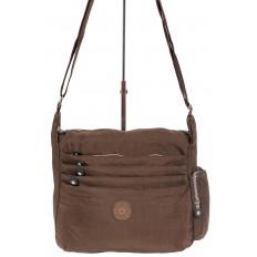 На фото 2 - Женская тканевая сумка с множеством карманов, цвет коричневый